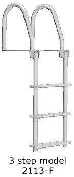 Dockedge 2113-F Folding 3 Step Galvanized White Dock Ladder