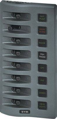 Blue Sea 4308 Water Resistant Fuse Panel 8 Position - Gray